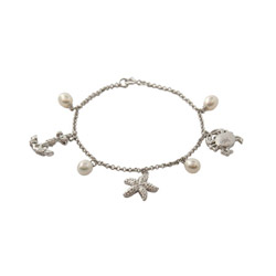Sterling Silver Pave CZ Nautical Charm Bracelet with Freshwater Pearl