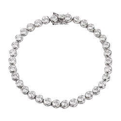 Tiffany Inspired Sterling Silver CZ Bubbles Tennis Bracelet