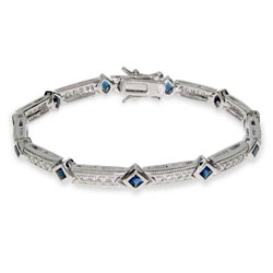 Elegant Sapphire and Diamond CZ Tennis Bracelet