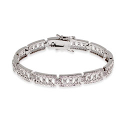Tiffany Inspired CZ Voile Sterling Silver Tennis Bracelet