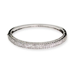 Sparkling Triple Row Pave CZ Bangle Bracelet