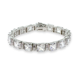 Bold n' Beautiful Princess Link CZ Silver Tennis Bracelet