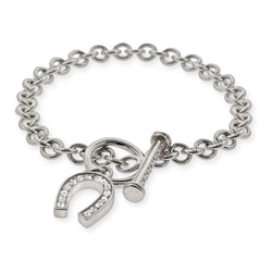 Tiffany Inspired Lucky CZ Horseshoe Toggle Clasp Bracelet