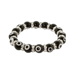 Black Glass Bead Evil Eye Bracelet