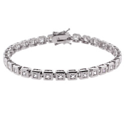 Sterling Silver Bezel Set Princess CZ Tennis Bracelet