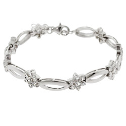 Sterling Silver Tennis Bracelet With CZ Flowers