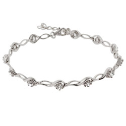 Sterling Silver Brilliant Cut CZ Tear Drop Link Tennis Bracelet