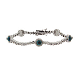 Sparkling Bezel Set CZ and Glass Evil Eye Tennis Bracelet
