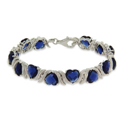 Romantic Sapphire CZ Heart Bracelet Set In Sterling Silver