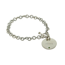 Close To The Heart Engravable Round Tag Sterling Silver Birthstone Bracelet