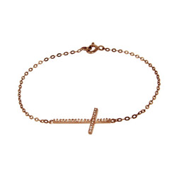 Rose Gold Vermeil CZ Sideways Cross Bracelet