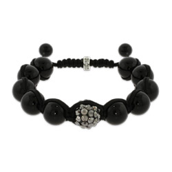 Black Fire Agate With Studded Bead Shamballa Style Bracelet