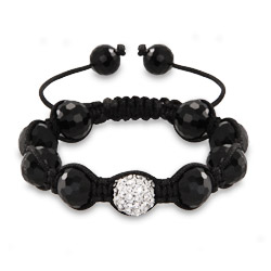 White Pave Austrian Crystal and Disco Balls Shamballa Inspired Bracelet
