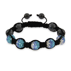 Shades of Blue Austrian Crystal Shamballa Inspired Bracelet