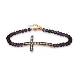 Sterling Silver Amethyst Gold Sideways Cross Bracelet