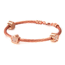 Designer Inspired Rose Gold Stackable Rope Bracelet with CZ Flowers