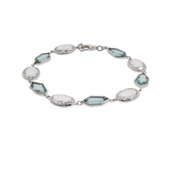 Whimsical Blue Topaz CZ Sterling Silver Bracelet- Clearance Final Sale