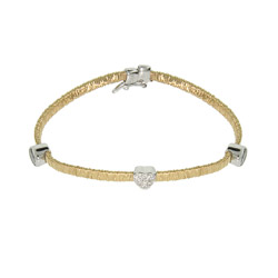 Magic Flex Gold Vermeil Bracelet with Bezel CZ and Pave Heart