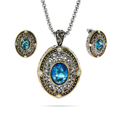 Designer Inspired Renaissance Style Blue CZ Necklace and Earrings Set