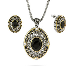Designer Inspired Renaissance Style Onyx Necklace and Earrings Set