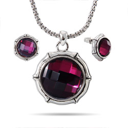 Designer Inspired Bamboo Amethyst CZ Necklace and Earring Set