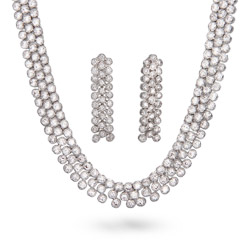 Dazzling Three Row CZ Necklace & Earring Set with Milgrain Edging
