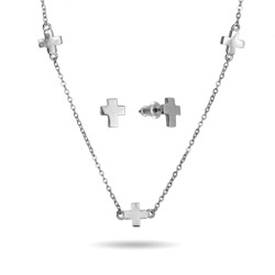 Alternating Crosses Necklace and Earring Set
