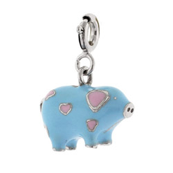 Sterling Silver Enamel Piggy Charm With Pink Hearts