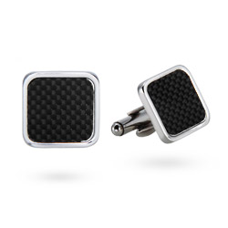 Men's Stainless Steel Carbon Fiber Cufflinks