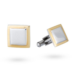 Men's Stainless Steel Square Cufflinks with Gold Lining
