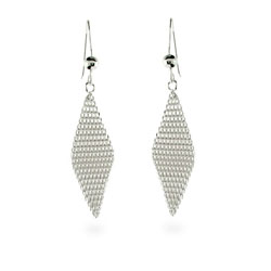 Tiffany Style Mini Mesh Dangle Earrings in Sterling Silver