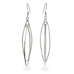 Plain Sterling Silver Double Almond Shape Earrings
