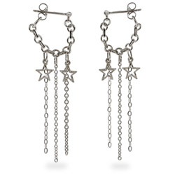 Dangling Star Chain Sterling Silver Ear Huggers