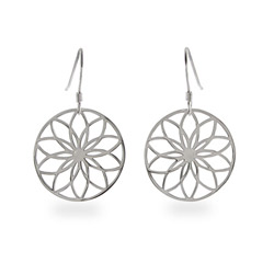 Round Nature Flower Sterling Silver Earrings