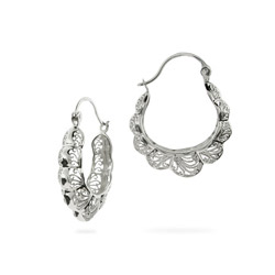 Filigree Design Bali Style Hoop Earrings