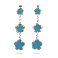 Designer Style Sterling Silver Turquoise Clover Earrings