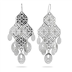 Filigree Bali Style Sterling Silver Chandelier Earrings