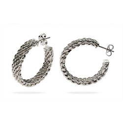 Tiffany Style Large Sterling Silver Mesh Hoop Earrings
