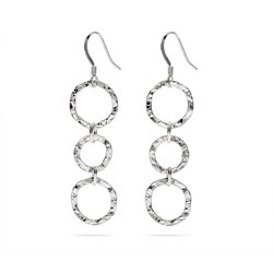 Hammered Triple Circle Drop Sterling Silver Earrings