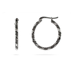 Bali Style Twisted Design Sterling Silver Hoops