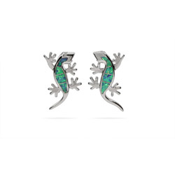 Opal and Sterling Silver Lizard Earrings