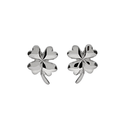 Good Luck Sterling Silver Four Leaf Clover Earrings