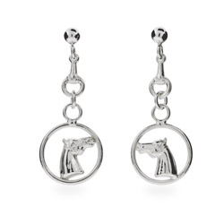 Designer Style Sterling Silver Equestrian Dangling Horse Earrings