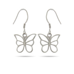 Tiffany Inspired Sterling Silver Butterfly Dangle Earrings