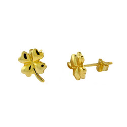 Good Luck Gold Vermeil Four Leaf Clover Earrings