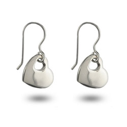 Tiffany Inspired Sterling Silver Solid Heart Dangle Earrings