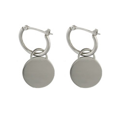 Tiffany Inspired Engravable Round Tag Earrings