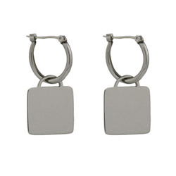 Tiffany Inspired Engravable Square Tag Earrings