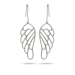 Angelic Sterling Silver Dangling Angel Wing Earrings
