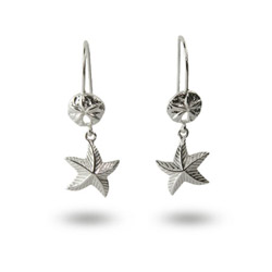 Nautical Sterling Silver Sand Dollar and Starfish Earrings